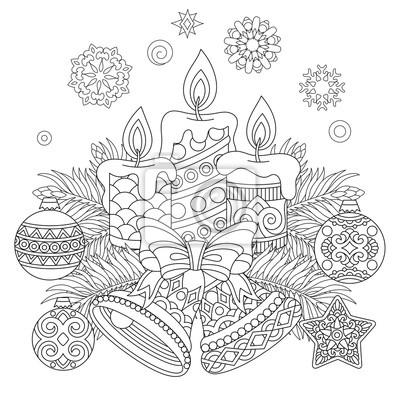 Boże Narodzenie Kolorowanki Dekoracje świąteczne Wiszące Kulki