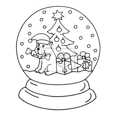 Boże Narodzenie Kryształowy śnieg Z Globusem Z Puppy Książka