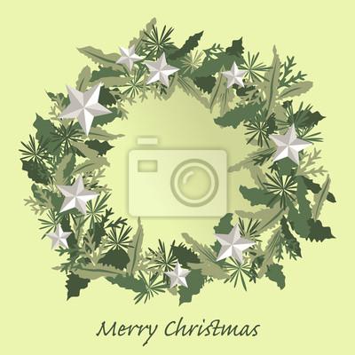 Fototapeta Boże Narodzenie pozostawia kilka srebrną gwiazdą