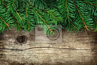 Boże Narodzenie w tle z choinki na starym zabytkowe drewniane płyty, kopia przestrzeń dla tekstu, widok z góry