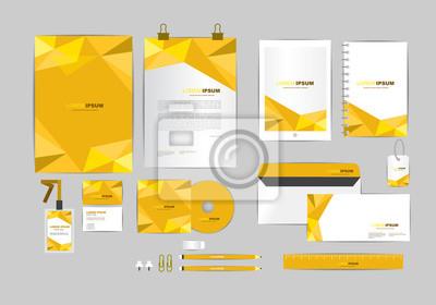 Fototapeta Brązowy I Złoty Z Trójkąta Corporate Identity Szablon Dla Firmy