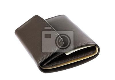Fototapeta brązowy skórzany portfel lub portfel z pieniędzmi na białym