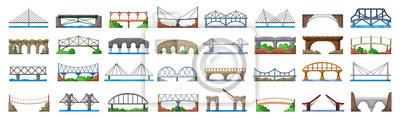 Fototapeta Bridge of construction vector cartoon set icon.Vector illustration river architecture on white background .Isolated cartoon set icon bridge of construction.