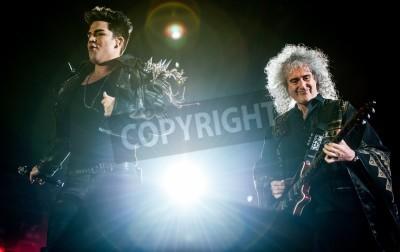 Fototapeta British rock band Queen performing at Olimpiyski stadium, Moscow during World Tour.