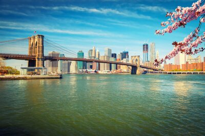 Fototapeta Brooklyn Bridge i Manhattan na wiosnę, Nowy Jork