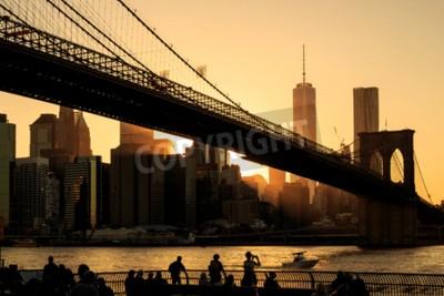Fototapeta Brooklyn mostu o zachodzie słońca, Nowy Jork