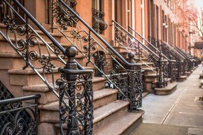 Fototapeta Brownstone Apartamenty w dzielnicy Chelsea w Nowym Jorku