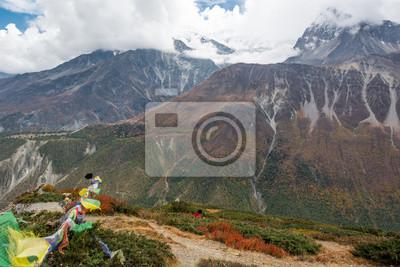 Fototapeta Buddyjski modląc flagi niesione przez wiatr.