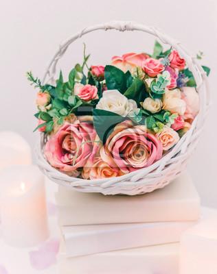 Zaktualizowano Bukiet kwiatów w koszu, dekoracje weselne, ręcznie robione CX22