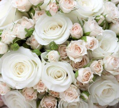 Fototapeta Bukiet ślubny z pinkand białych róż