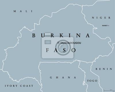 Burkina Faso Mapa Polityczna Z Kapitalem Ouagadougou Nielegalny