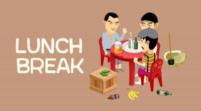 Fototapeta Business lunch, lunch, lunch break. Men rest between work. Men drink beer. Workers rest. Vector illustration