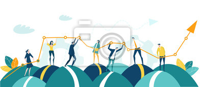 Fototapeta Business people, creative team holding and caring growth arrow as symbol of success, support and development. Business concept illustration