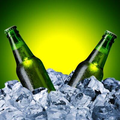 Fototapeta Butelek piwa na kostki lodu