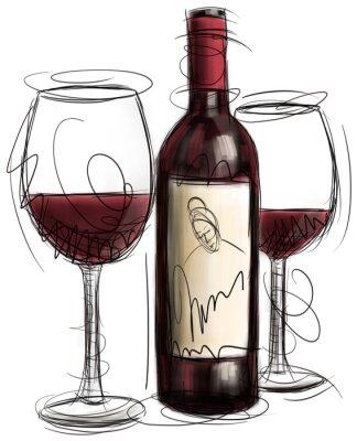 Fototapeta Butelek wina i szklanki