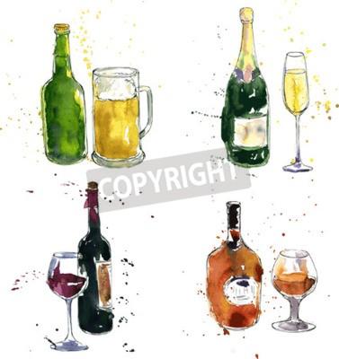 Fototapeta Butelka koniaku i kubek, butelka wina i szkło, butelkę szampana i szkła, butelki piwa i kubek, według rysunku akwareli i tuszu, ręcznie rysowane ilustracji wektorowych