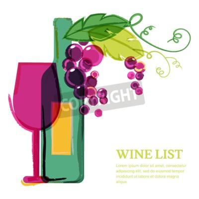 Fototapeta Butelka wina, szkło, różowy winogron winorośli, Akwarele ilustracji. Abstrakcyjny wzór szablonu wektora tła. Koncepcja dla win, menu, ulotki, strony, napojów alkoholowych, uroczystości święta.