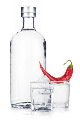 Fototapeta Butelka wódki i kieliszka z lodem i papryka chili