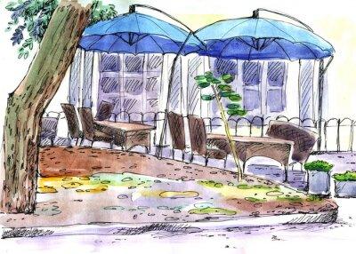 Fototapeta Cafe na ulicy. niebieskie parasole, akwarela