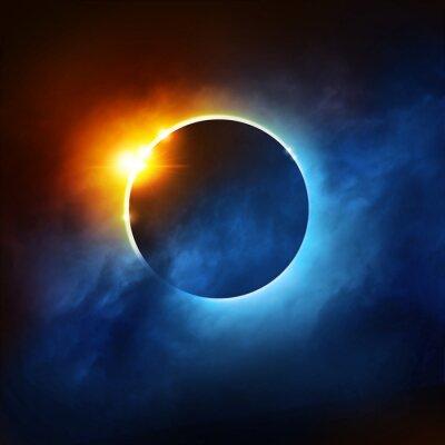 Fototapeta Całkowite zaćmienie Słońca Dramatyczna Solar Eclipse ilustracji.