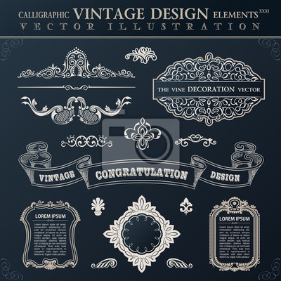 Fototapeta Calligraphic black elements vintage Congratulation and page deco