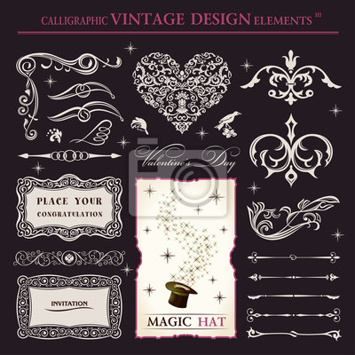 Fototapeta calligraphic elements vintage vector set. holiday patterns frame