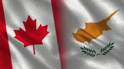 Fototapeta Canada and Cyprus - 3D illustration Two Flag Together - Fabric Texture