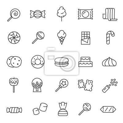Fototapeta Candy, confectionery, icon set. Confections, sweets, sweet pastries, linear icons. Line with editable stroke