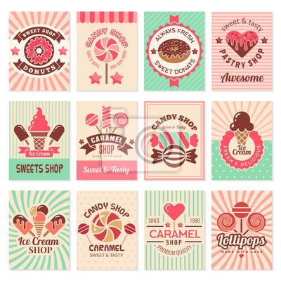 Fototapeta Candy shop cards. Sweet food desserts confectionary symbols for restaurant menu vector flyer collection. Confectionery banner shop, candy dessert, sweet caramel illustration