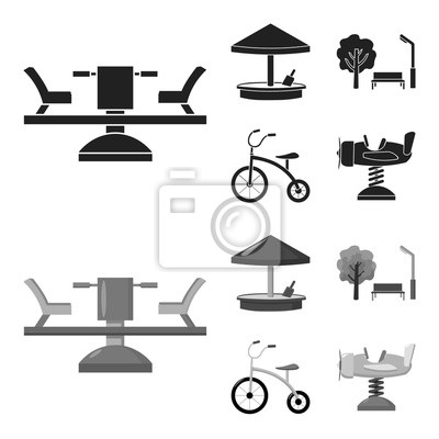 Fototapeta Carousel, sandbox, park, tricycle. Playground set collection icons in black,monochrom style vector symbol stock illustration web.