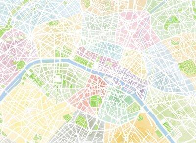 Fototapeta Cartina Paryż, disegnata a mano, pennellate, strade e vie, Francia