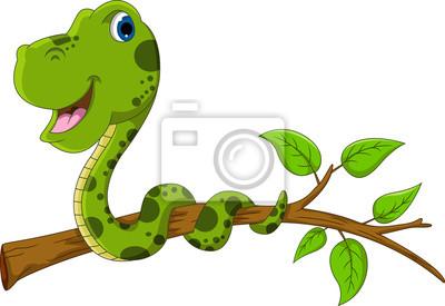 Fototapeta cartoon Cute zielony wąż
