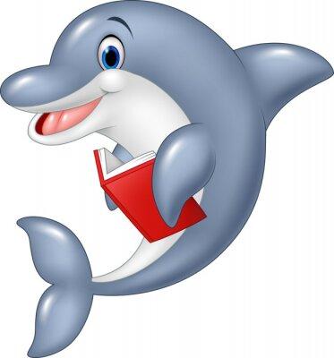 Fototapeta Cartoon Delfin trzyma książkę na białym tle