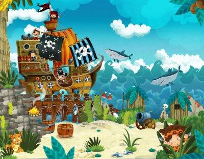 Fototapeta Cartoon ilustracji - piraci na dzikiej wyspie - ilustracji dla dzieci