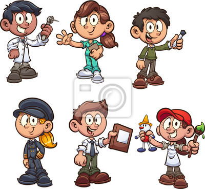 Fototapeta Cartoon kids with different occupations clip art. Vector illustration with simple gradients. Each on a separate layer.