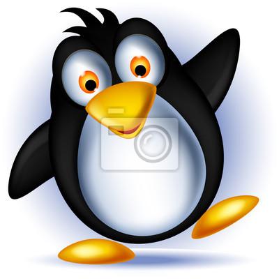 Fototapeta Cartoon szczęśliwy mały pingwin