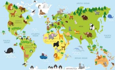 Fototapeta Cartoon Zabawna mapa świata z tradycyjnych zwierząt ze wszystkich kontynentów i oceanów. ilustracji wektorowych dla edukacji dzieci w wieku przedszkolnym i projektowania