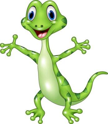 Fototapeta Cartoon zabawna zielona jaszczurka stwarzających samodzielnie na białym tle