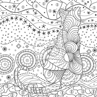 Cat Wallpaper Design Zentangle Hand Drawn Zen Square Mandala