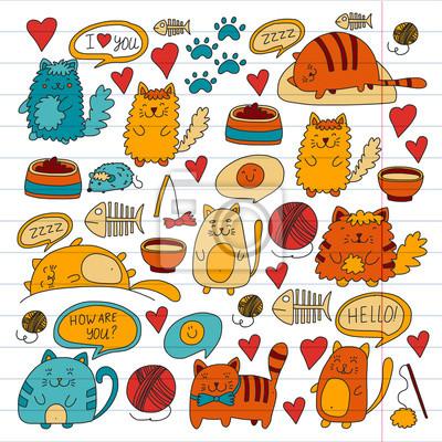 Cats Vector Domestic Cute Kawaii Kocięta Japońskie Kawaii Styl