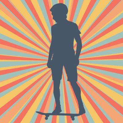 Fototapeta Ch? Opiec skateboarding tle wektora