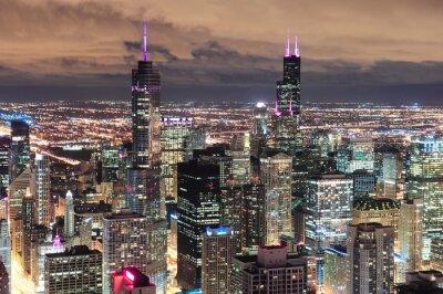 Fototapeta Chicago Miejskie lotu ptaka o zmierzchu