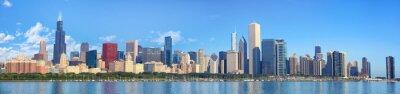 Fototapeta Chicago skyline panorama z widokiem na jezioro Michigan, IL, Stany Zjednoczone