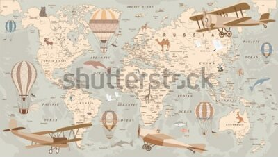 Fototapeta childrens retro world map with animals airplanes and balloons
