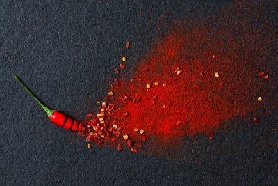 Fototapeta Chili, papryka chili w proszku i płatków