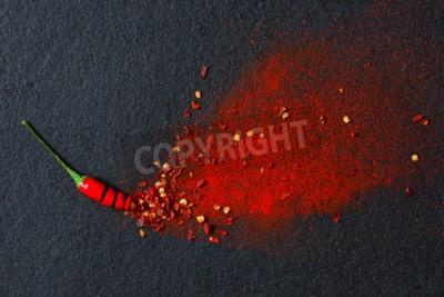 Fototapeta Chili, płatki papryki czerwonej i proszek chili