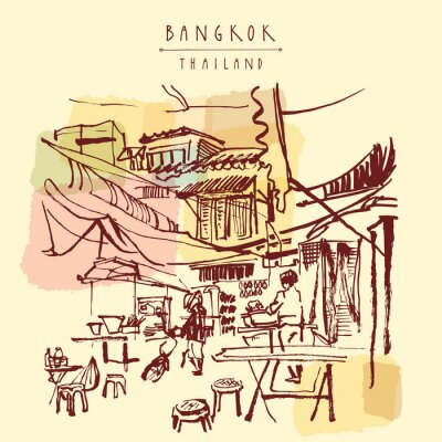 Fototapeta China Town w Bangkoku w Tajlandii. Żywność stalle, stoły, taborety. Ludzie kupują chińskie jedzenie w prosty ulicznej kawiarni. Pionowe archiwalne ręcznie rysowane pocztówki. ilustracji wektorowych