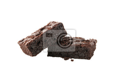 Fototapeta Chocolate brownie pieces isolated on white background
