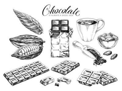 Fototapeta Chocolate desserts hand drawn vector illustrations set