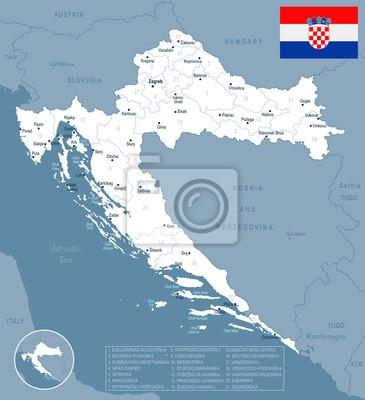 Chorwacja Mapa I Flaga Szczegolowa Wektorowa Ilustracja